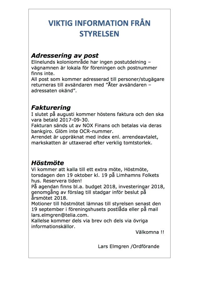 VIKTIG INFORMATION FRÅN STYRELSEN